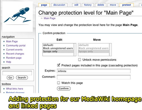 Adding MediaWiki page protection