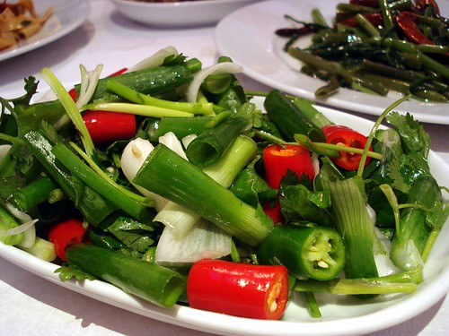 Coarsely-chopped spring onions, red chillies, and green chillies are piled on a plate, intermixed with stems of fresh green coriander.  A few other vegetable dishes are just visible in the background.