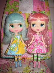 Lilly Pulitzer Dolly Love!!! (Primrose Princess) Tags: pink green yellow hair dress rice lace turquoise sally biscuit fantasy lilly colored blythe miss dainty pulitzer