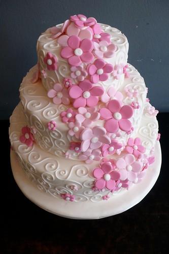Love Birds cake · Winding Pink flowers wedding cake