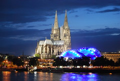 a skyline for bryson (xrispixels) Tags: blue church by skyline night germany deutschland concert cityscape cathedral dom cologne kln dome venue allemagne duitsland keulen
