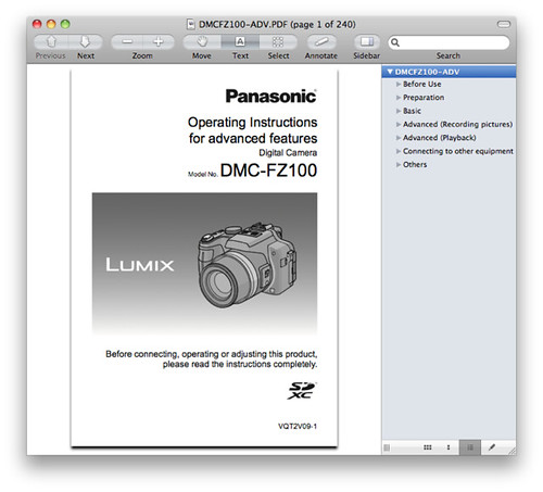 Panasonic FZ100 Manual -- Advanced Operating Instructions