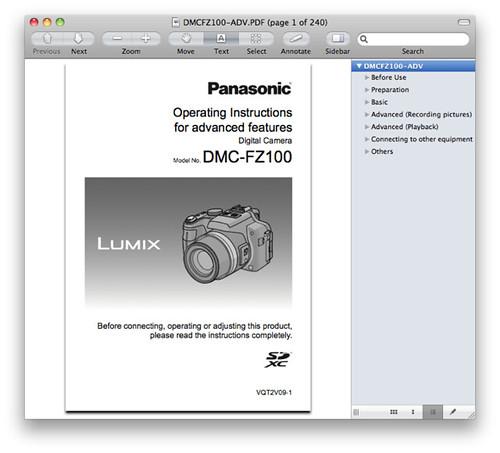 Panasonic FZ100 Manual -- Advanced Operating Instructions
