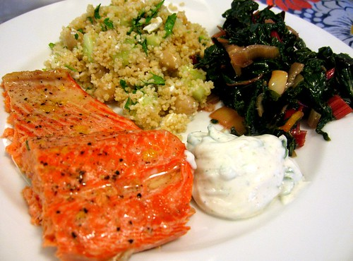 Wild Salmon with Couscous, Cucumber, Chickpeas, Feta, and Parsley and Sautéed Rainbow Chard