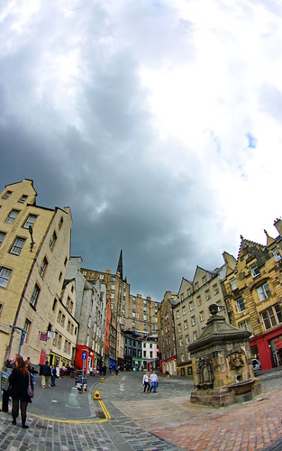 Scotland, Edinburgh, Edimbourg, Grassmarket below the castle 6