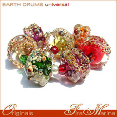 Earth Drums ~ Universal (Fira Marina) Tags: green apple glass amber beads colorful purple violet sprinkles amethyst organic lampwork topaz colorshifting freeformed firamarina