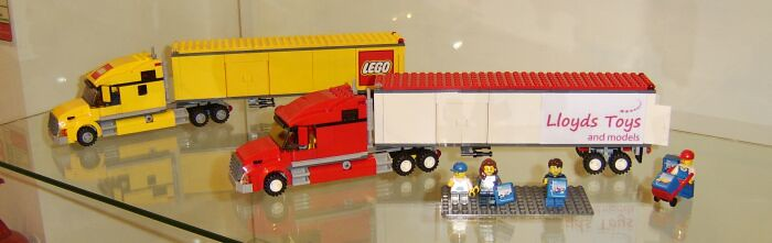 LEGO® Truck (Set Number 3221) And Custom 'Lloyds Toys' Lorry On Display In The Lloyds Toys And Models Store In Weston-super-Mare