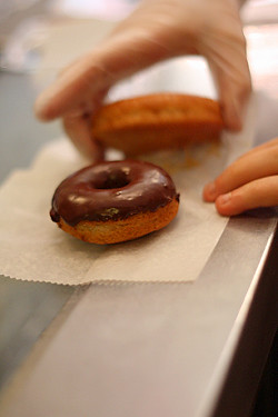 chocolate-glazed doughnut