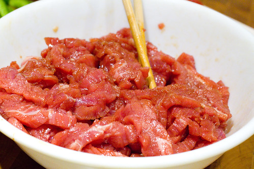 marinating beef strips