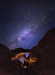 Double Arch with a Perseid Meteor and the Milky Way (tmo-photo) Tags: lightpainting night stars nightscape desert fav50 pano arches fav20 500v50f fav30 meteor milkyway fav10 fav100 fav40 earthandspace fav60 fav110 fav90 fav80 fav70 fav120 fav130 competition:astrophoto=2012