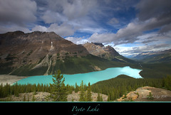 "Peyto Lake seen from Bow Summit. (Joalhi ""Back in Miami"") Tags: blue sky lake canada clouds alberta banff peyto abigfave theunforgettablepictures coth5"