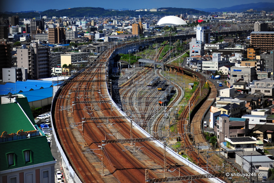 Really like this view of the train tracks leading from Okayama Station. Nothing like a railway hotel