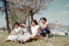 L-R Fumiko, Eureko, Hideko, Kazuko at Ishikawa (Phil Roeder) Tags: color zeiss asia explore 1950s kodachrome ikon koreanwar contessa explored scancafe