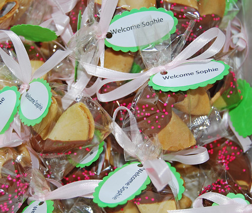Pink and Green Chocolate Dipped Fortune Cookie Baby Shower Favors