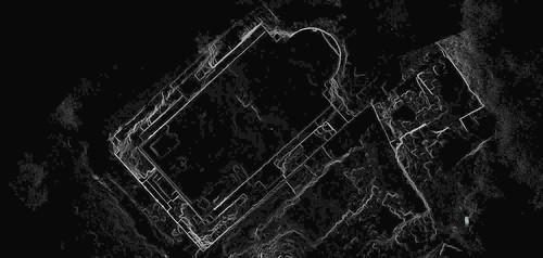 Plan de la chapelle ouest de la basse-cour du Château de Saladin/Saône/Sahyun obtenu par levé topographique haute densité (Syrie, 2008)