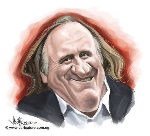 digital caricature of GÉRARD DEPARDIU