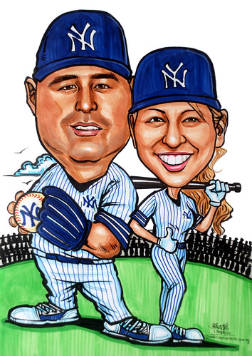 Yankees couple baseball player caricatures