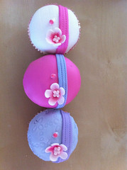 Pink White Periwinkle cupcakes (The Goldiloks) Tags: pink white cute cupcakes chocolate girly almond lavender covered periwinkle cherryblossom quilted romantic ribbon custom striped stamped embossed decorated fondant gumpasteflowers pinkdots texturedfondant goldiloks