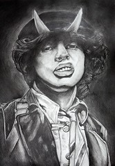 ...Highway To Hell... (voodoo_child_91) Tags: portrait music white black rock acdc painting grey highway angus hell young to realistic angusyoung highwayto