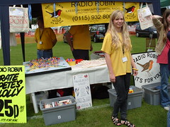 Golden Girl on the Radio Robin Stand . Ilkeston Carnival - 2010 (Lenton Sands) Tags: radio communityradio ilkestonhospital