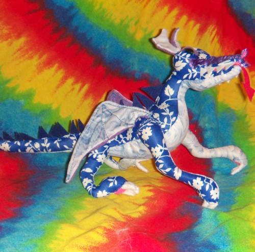 OOAK Handmade Blue Floral Print Fantasy Dragon Stuffed Animal