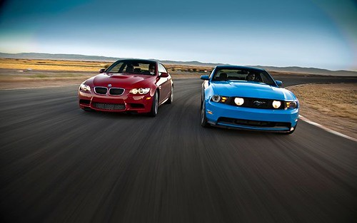 2011-BMW-M3-coupe-2011-mustang-GT-front-ends-2
