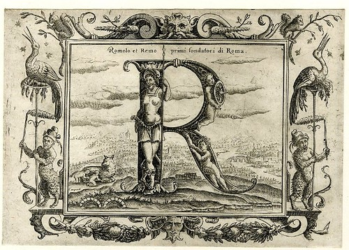 016-Letra R-Grotesque alphabet in mythological landscapes-© The Trustees of the British Museum