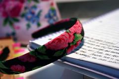 Roses (Elise Bonilla-Myers) Tags: pink blue red white black leaves writing notebook desk redroses paintedflowers blackheadband paintedrose