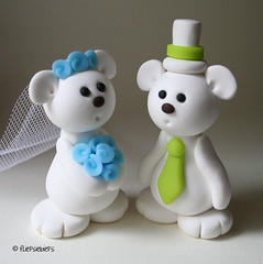 Bear Wedding Cake Topper (fliepsiebieps1) Tags: wedding white cute penguins purple handmade limegreen bears polymerclay kawaii caketopper custom lightblue