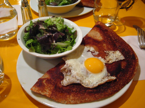 gruyere galette w/ fried egg & salad