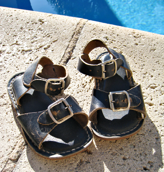 70's leather sandals+baby sandals