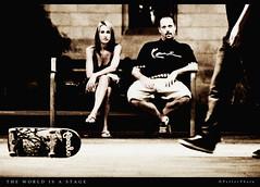 The World Is A Stage (PetterPhoto) Tags: barcelona street plaza monochrome de la nikon nightout grain el universidad skateboard grainy nikkor 18200 raval plaa universitat leixample d300s lexample petterphoto