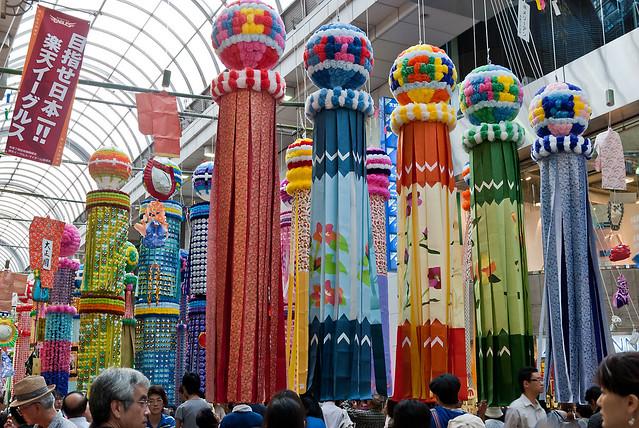 Sendai - Tanabata Matsuri - Fukinagashi (仙台・七夕祭り・吹流し)