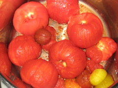 Pot of peeled tomatoes