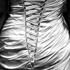 (Delay Tactics) Tags: wedding bw white black square back dress rear waist v behind hourglass herringbone creases strapping