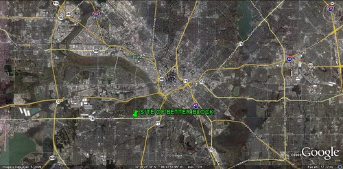 downtown Dallas to the northeast (via Google Earth, label by me)