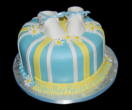 Blue and Yellow striped baby shower cake with baby shoes - Baby Boy Reiss