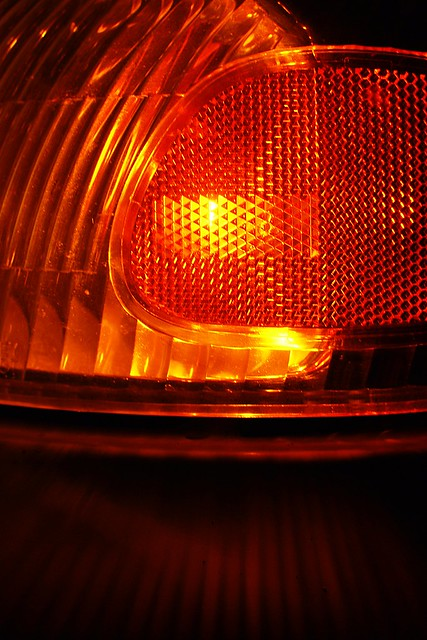 Abstract macro of a car's front blinker