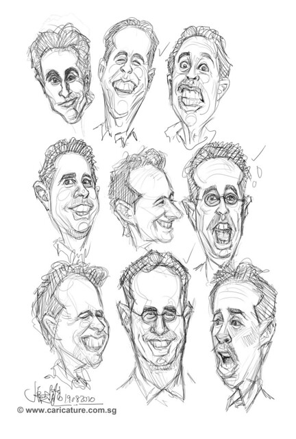 thumbnail sketches of Jerry Seinfeld