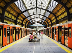 Piraeus Underground Station (Ben Heine) Tags: roof wallpaper people orange inspiration building art beauty lines yellow architecture subway greek photography vanishingpoint construction energy colorful doors time gare metro capital perspective engineering indoor athens structure boring greece simplicity ennui imaging dailylife toit difice grce depth emptiness vide piraeus vibration routine quotidien luminosity postprocessing couvert profondeur rythme theartistery pointdefuite athne mtroboulotdodo creativecomposition anawesomeshot flickrunited samsungnx10 ingnieurie benheinecom piraeusundergroundstation diminishingfocalpoint