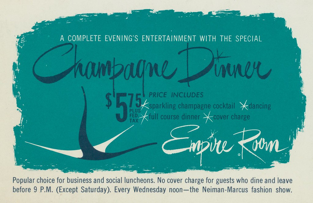 Champagne Dinner at the Empire Room - Dallas, Texas