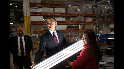 President Barack Obama watches as an operator demonstrates the final stage of light fixture assembly during a tour of Orion Energy Systems, Inc in Manitowoc, Wisc., Jan. 26, 2011. (Official White House Photo by Samantha Appleton)