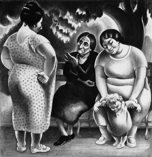 Mabel_Dwight_Women_on_Park_Bench_1934_lithograph_