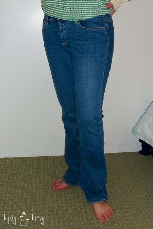 bootcut to skinny jean makeover upcycled before