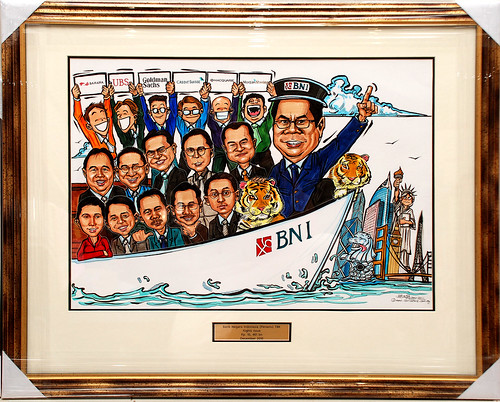 Group caricatures for Goldman Sachs with metal engraving in frame