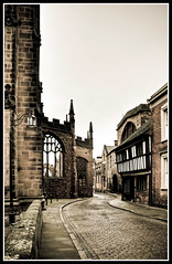 Coventry Cathedral Streets (Steve's Photography :-)) Tags: street city uk houses house church lamp nikon cathedral path cobbled lamppost d200 coventry cobbles westmidlands warwickshire lightroom photomatix tudorstyle cs5 5shothdr steveclancy