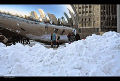 Cloud Gate Clean-Up (C. Dastodd) Tags: park winter snow chicago illinois millennium theloop cloudgate blizzard 2011 chicagobean
