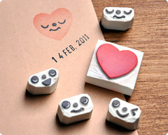 Romantic hand carved heart face change rubber stamps
