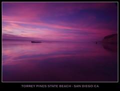 Calmness (canon60dslr) Tags: california longexposure pink blue sunset sky reflection beach wet water stone clouds evening sand rocks purple torreypines sandiego calm pines hues torrey torreypinesstatepark torreypinesnaturalreserve
