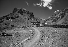 Path to Markha Monastery [BW] (Modesto Vega) Tags: markha markhavalley markhamonatery prayerflags maniwall mountain outdoor landscape india jammukashmir nikon nikond600 d600 fullframe wideangle